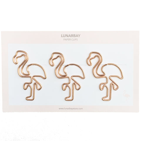 Paper Clips Flamingo - Set of 3 (Rose Gold)