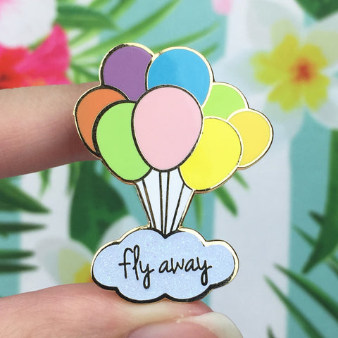 Fly Away Glitter Gold Enamel Pin