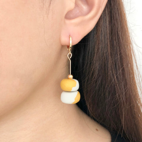 Gold and Cement Earrings