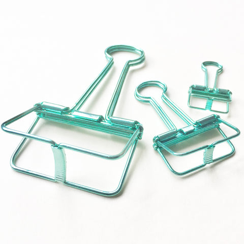 Skeleton Binder Clips (Metallic Green)