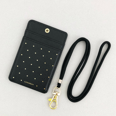 Cardholder w/ Lanyard - Black Polka Dots with Matte Black Strap
