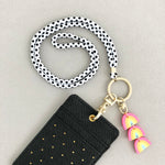 Lanyard With Triple Rainbow Charm (White Polka Dot Strap)