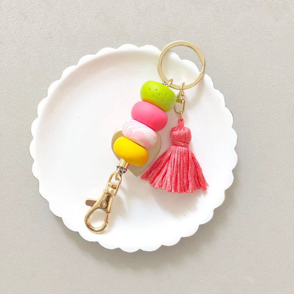 Keychain Hot Pink and Garden with Coral Tassel