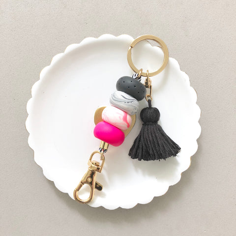 Keychain Hot Pink and Black Marble with Black Tassel