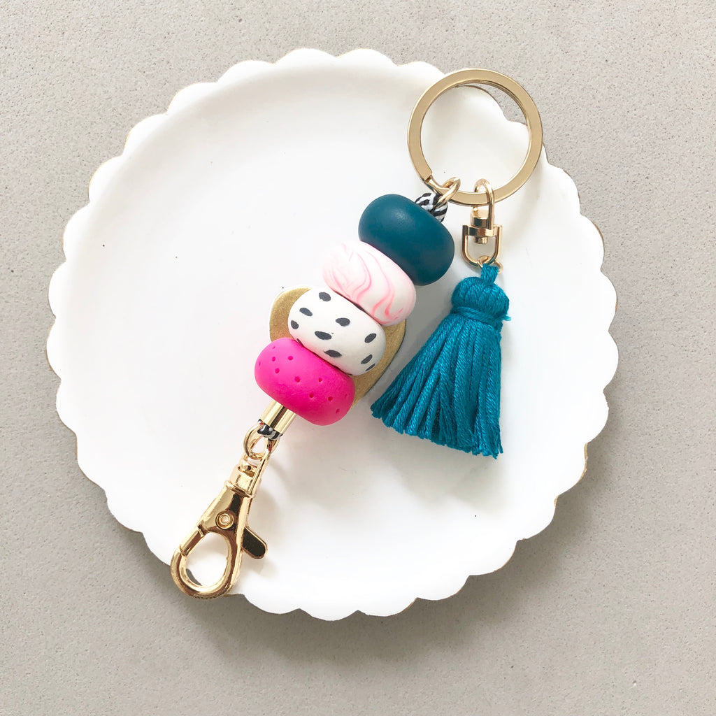 Keychain Bag Charm Hot Pink and Teal with Teal Tassel