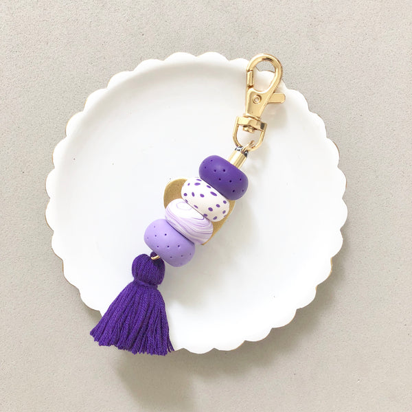 Bag Charm Purple with Purple Tassel