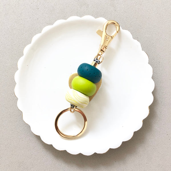 Keychain Emerald & Green Marble