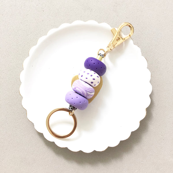 Keychain Purple Polka Dots