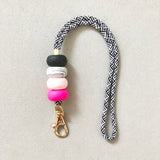 Hot Pink and Black Marble Lanyard Key Chain / Wristlet Strap