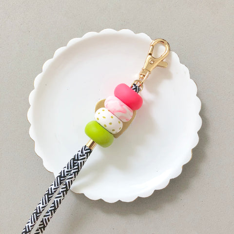 Strap (Custom Length) Pink Marble Leaf Colourful Lanyard Keychain