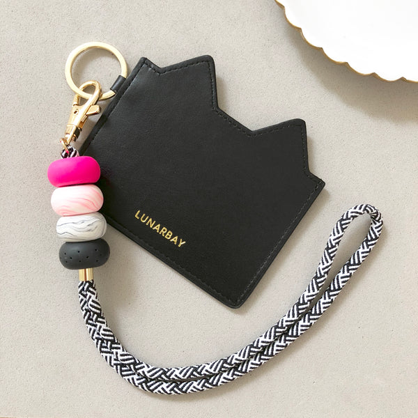 Hot Pink and Black Marble Wristlet Strap with Black Kitty Cardholder