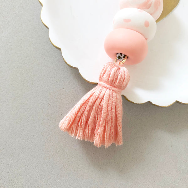 Bag Charm Pink with Muted Pink Tassel