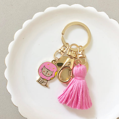 Kitty Donut Keychain with Tassel