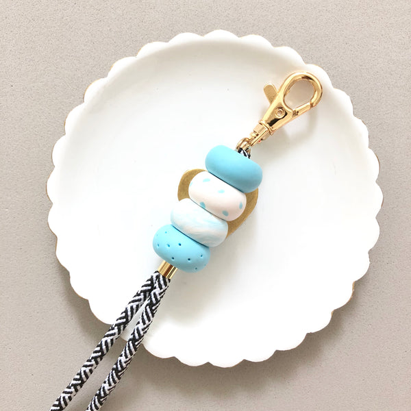 Strap (Custom Length) Baby Blue Lanyard Keychain [Stripes Strap]