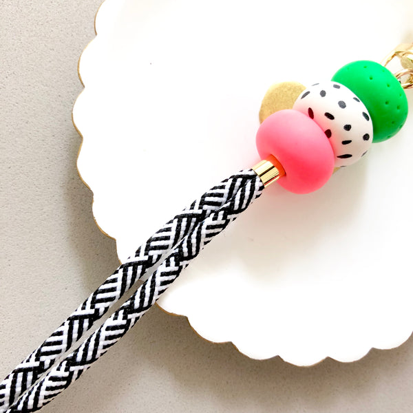 Strap (Custom Length) Retro Pop Lanyard Keychain [Stripes Strap]