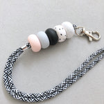 Polka Dot Muted Pink Grey Lanyard Key Chain / Wristlet Strap