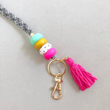 Glam Pink Gatsby Lanyard with Hot Pink Tassel