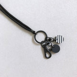 Matte Black Lanyard Key Chain With Mod Charm / Wristlet Strap