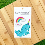Puffy Sticker - Shiny Narwhal Rainbow with Metallic Foil