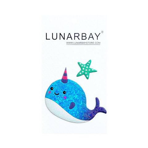 Puffy Sticker - Ocean Glitter Narwhal