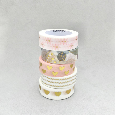 Pack of 5 -  Gold Foil Hearts Washi Tape Bundle