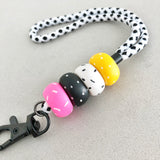 Matte Black Speckle Polka Dot Lanyard