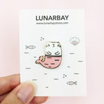 Mermaid Kitty Gold Enamel Pin