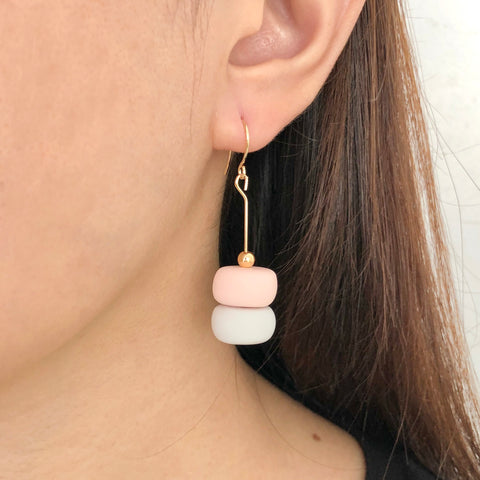 Muted Pink Grey Earrings