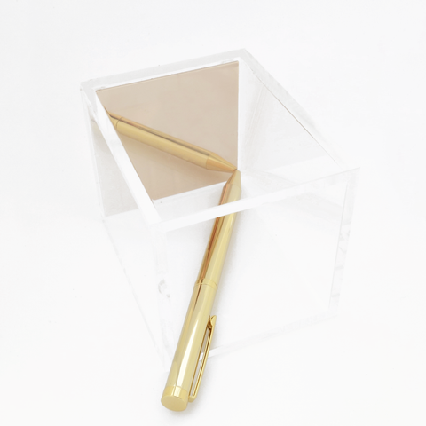 Acrylic Pen Holder (Gold)