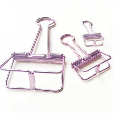 Skeleton Binder Clips (Metallic Purple)