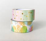 Pack of 4 - Gold Foil Colourful Rainbow Washi Tape Bundle