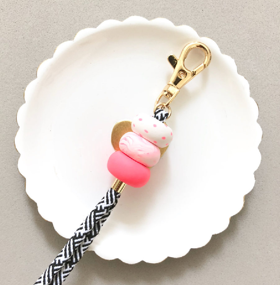 Strap (Custom Length) Pink Power Lanyard Keychain [Stripes Strap]