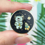 Space Bear Universe Gold Enamel Pin