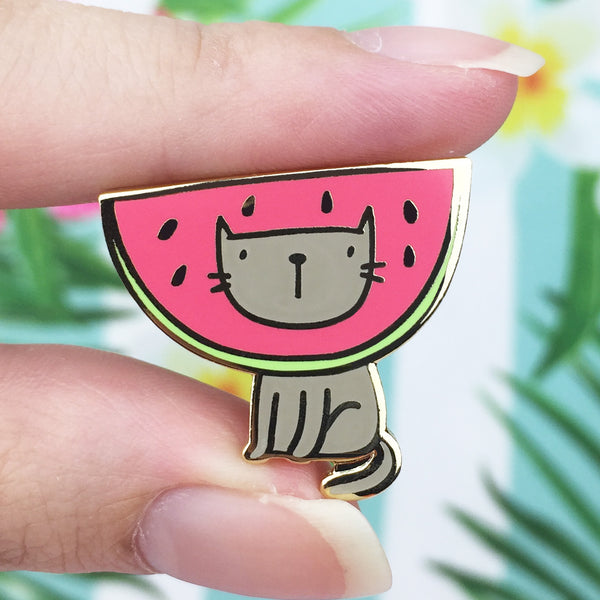 Kitty Watermelon Gold Enamel Pin