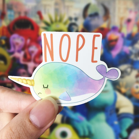 Vinyl Sticker - Whalicorn Grumpy Day
