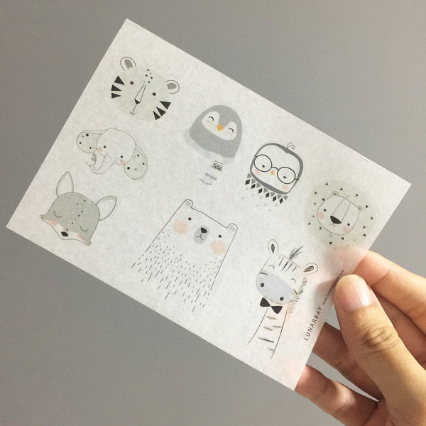 Washi Sticker - White Animal Doodles Pack