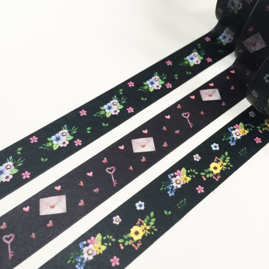 Pack of 3 - 'X' series Floral Hearts Washi Tape Bundle