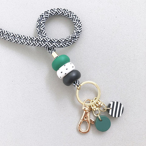 Green Marble Charm Beaded Lanyard / Wristlet Strap