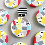 Mismatched Terrazzo Stripe Gold Stud Earrings