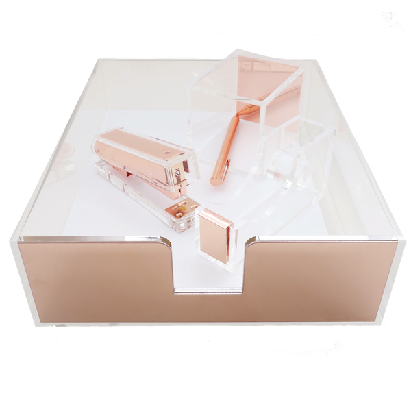 DESK SET: Acrylic stationery set (Rose Gold)