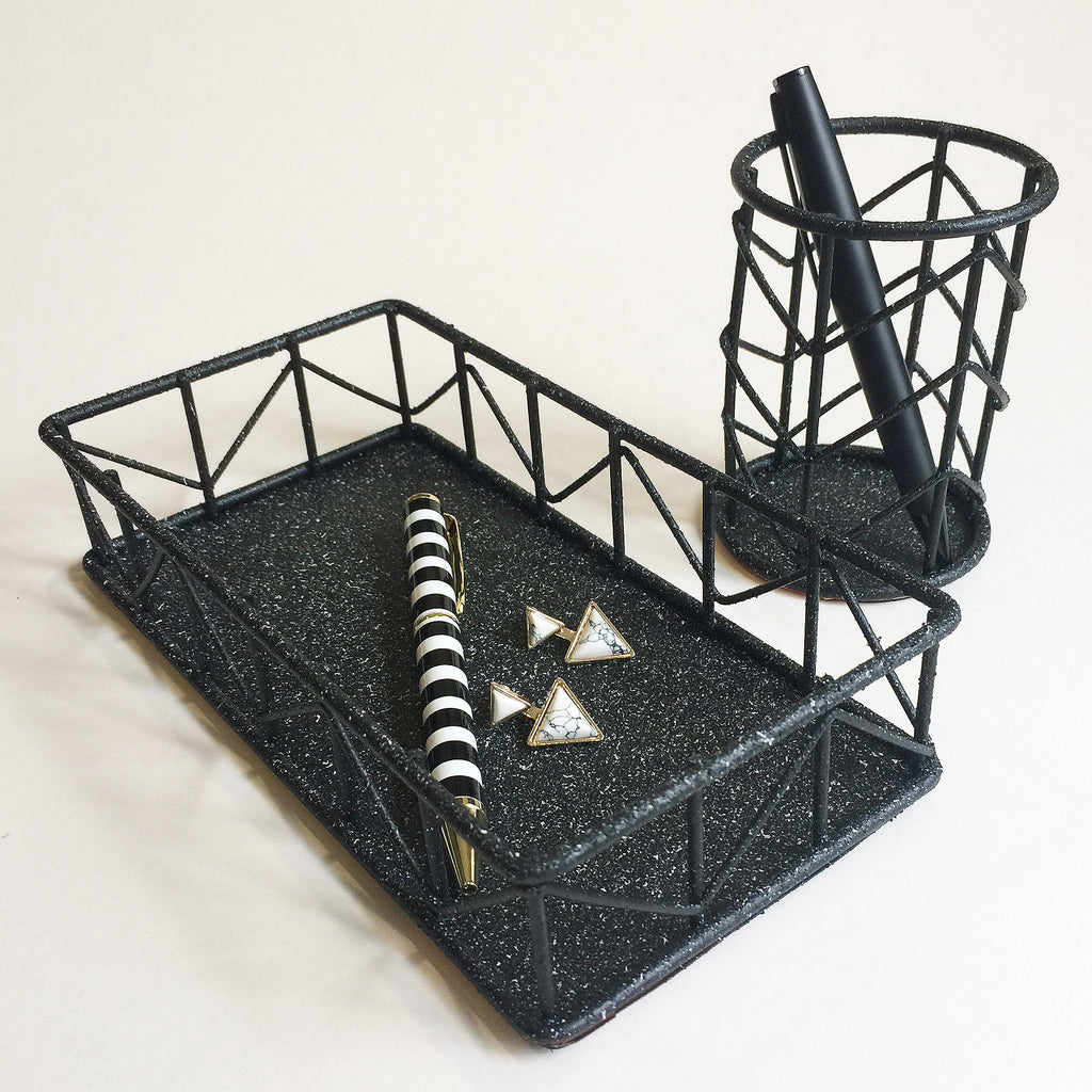 Wire Holder and Tray set (Stone Black)
