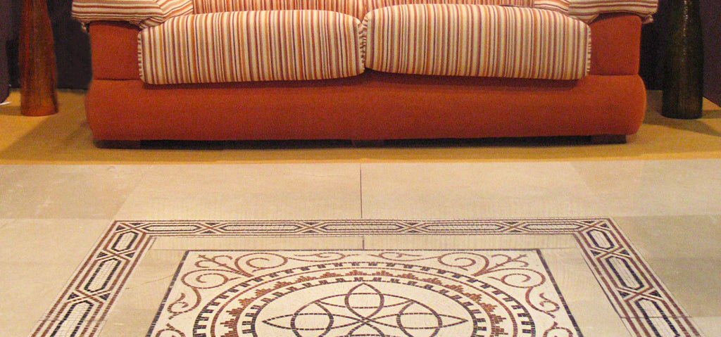 Integration of Roman mosaics in a modern interior