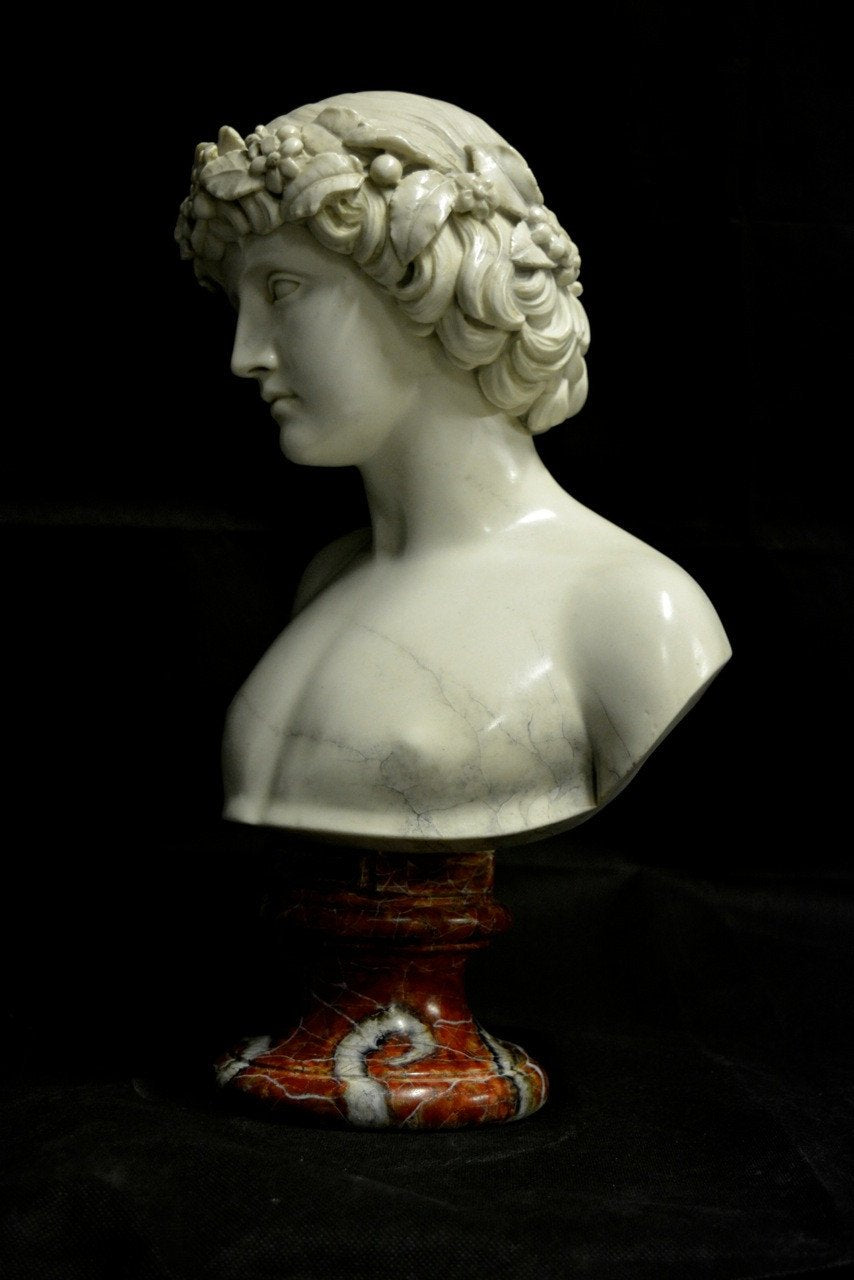 Bust sculpture, Roman statue painted with faux marble technique