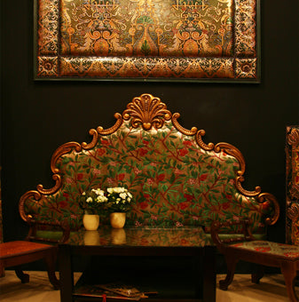 Cuir de Cordoue gilt leather headboard and panel in an interior