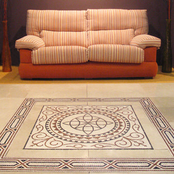 Geometric Roman mosaic floor in a home interior