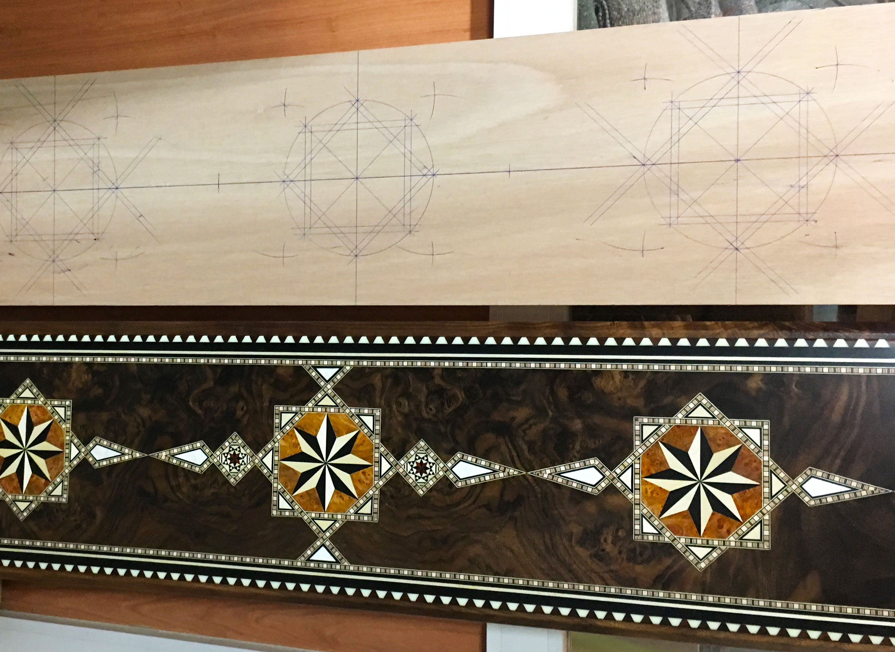 Islamic intarsia inlay stick ready to be trimmed