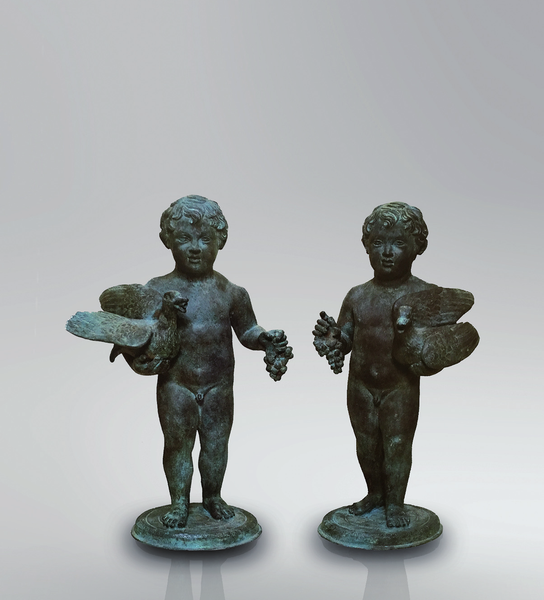 Putti Children Bronze Statue in Pair