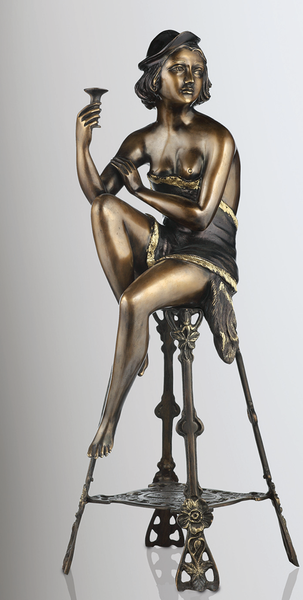 French Lady Sitting Bronze Statue