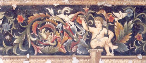 Cherub with Ornaments in Black Fresco