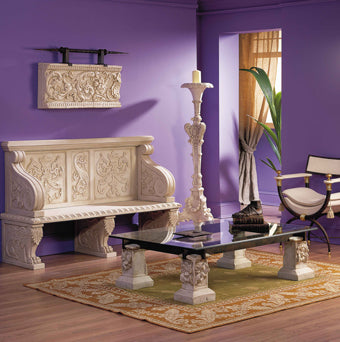 Themed interior design project with Renaissance sculptuted bench
